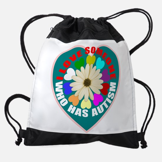 Autism flower and heart Drawstring Bag