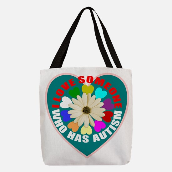Autism flower and heart Polyester Tote Bag