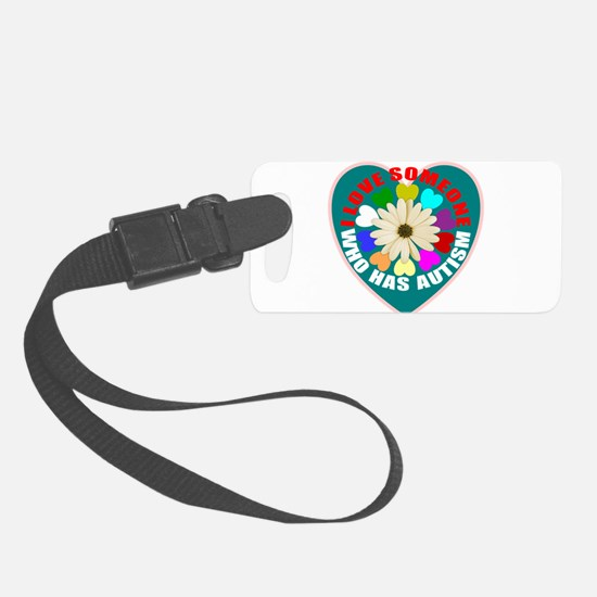 Autism flower and heart Luggage Tag