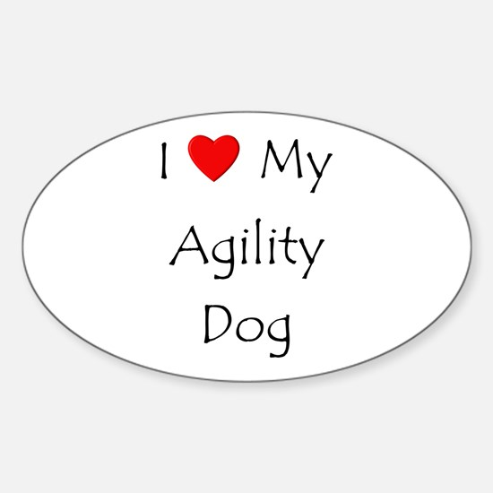 I Love My Agility Dog Sticker (Oval)