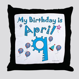 April 9th Birthday Throw Pillow