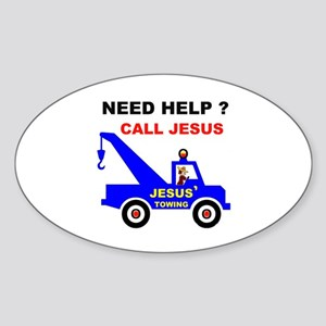 JESUS TOWING Oval Sticker