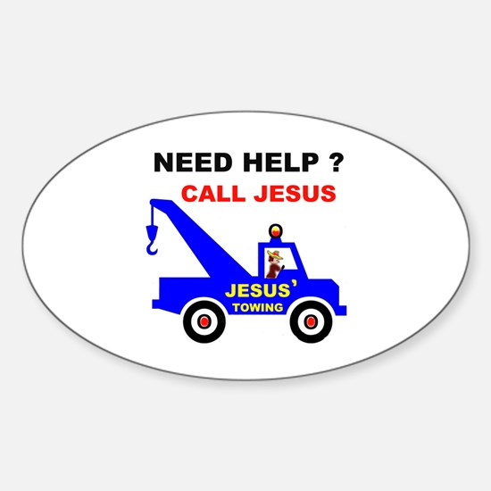 JESUS TOWING Oval Decal