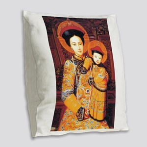 Our Lady of China Blessed Chin Burlap Throw Pillow
