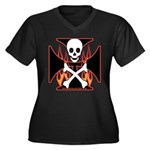 X Women's Plus Size V-Neck Dark T-Shirt
