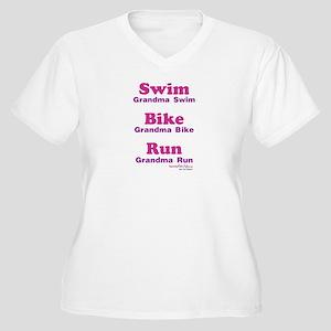 Triathlon Grandma Women's Plus Size V-Neck T-Shirt