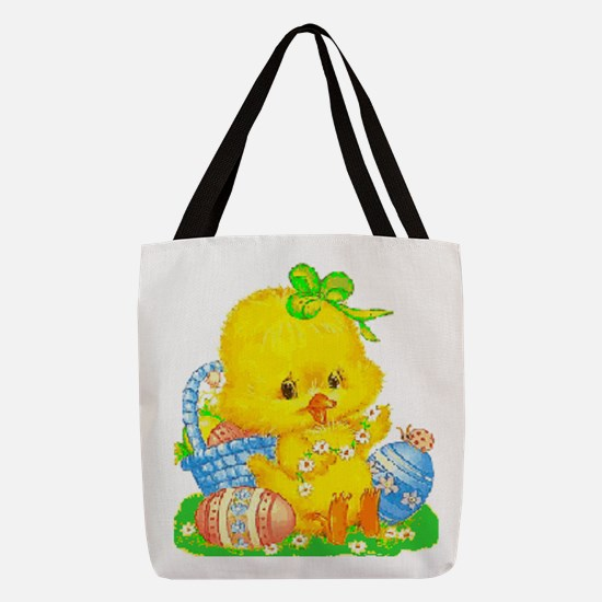 Vintage Cute Easter Duckling Polyester Tote Bag