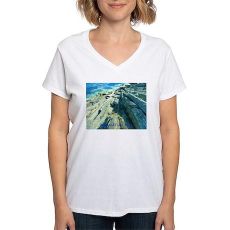 Pemaquid Point (caption) Women's V-Neck T-Shirt