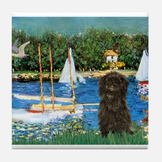 Sailboats & Affenpinscher Tile Coaster