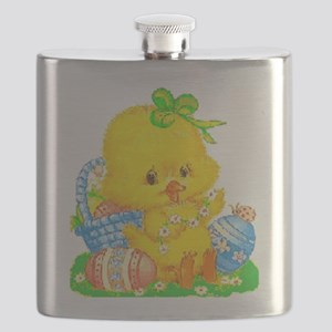 Vintage Cute Easter Duckling and Easter Egg Flask