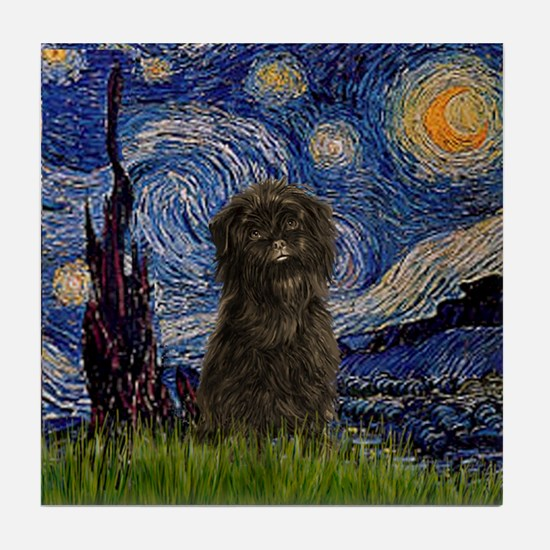 Starry Night & Affenpinscher Tile Coaster