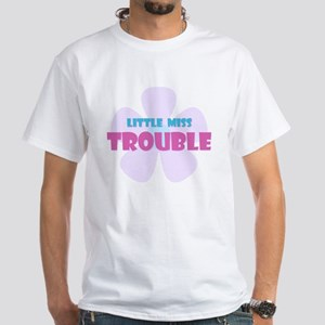 Flower Little Miss Trouble White T-Shirt