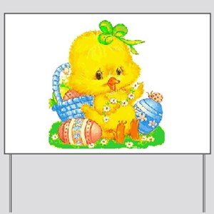 Vintage Cute Easter Duckling and Easter Egg Yard S