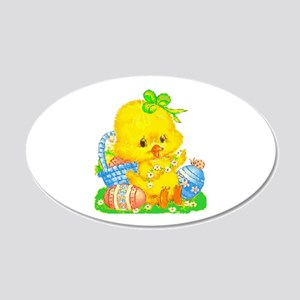 Vintage Cute Easter Duckling 20x12 Oval Wall Decal