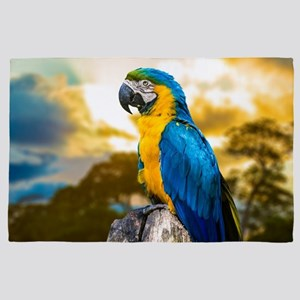 Beautiful Blue And Yellow Parrot 4' x 6' Rug