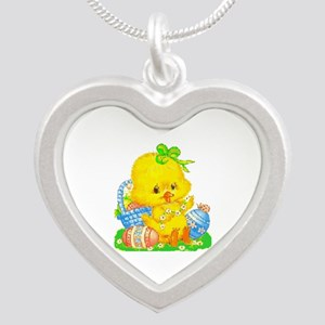 Vintage Cute Easter Duckling And Egg Necklaces