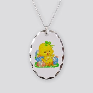 Vintage Cute Easter Duckling Necklace Oval Charm