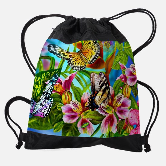 Beautiful Butterflies And Flowers Drawstring Bag