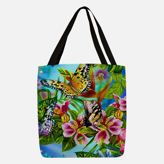 Beautiful Butterflies And Flowe Polyester Tote Bag