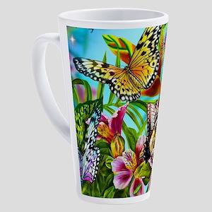 Beautiful Butterflies And Flowers 17 oz Latte Mug
