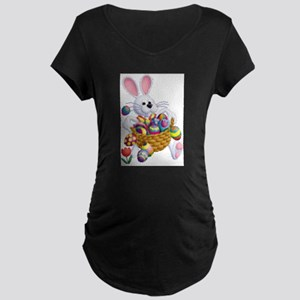 Easter Bunny with Basket of Eggs Maternity T-Shirt