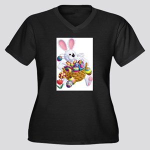 Easter Bunny with Basket of Eggs Plus Size T-Shirt