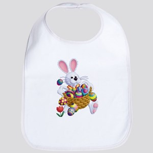 Easter Bunny with Basket of Eggs Baby Bib