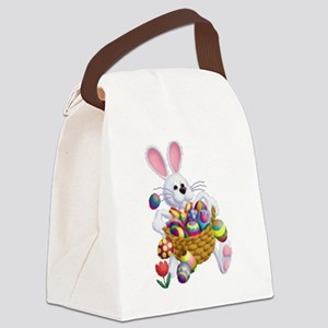 Easter Bunny with Basket of Eggs Canvas Lunch Bag