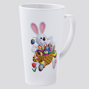 Easter Bunny With Basket Of Eggs 17 Oz Latte Mug