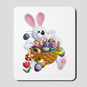 Easter Bunny With Basket Of Eggs Mousepad