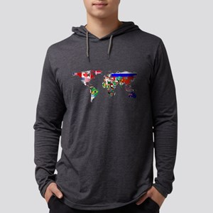 World Map With Flags Long Sleeve T-Shirt