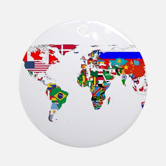 World Map With Flags Round Ornament