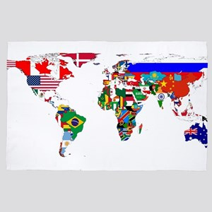 World Map With Flags 4' x 6' Rug