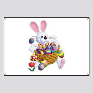 Easter Bunny with Basket of Eggs Banner