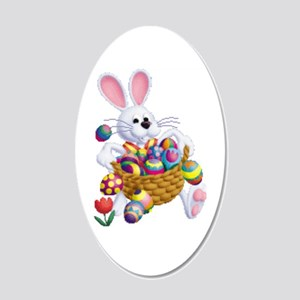 Easter Bunny With Basket Of 20x12 Oval Wall Decal