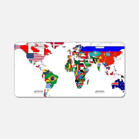 World Map With Flags Aluminum License Plate