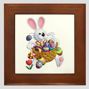 Easter Bunny With Basket Of Eggs Framed Tile