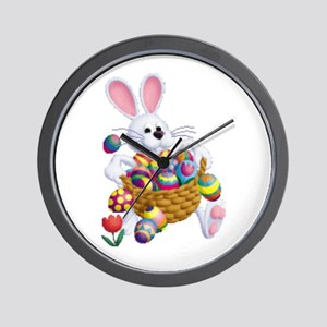 Easter Bunny With Basket Of Eggs Wall Clock
