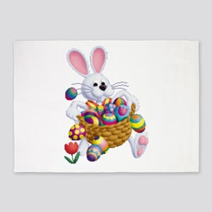Easter Bunny with Basket of Eggs 5'x7'Area Rug