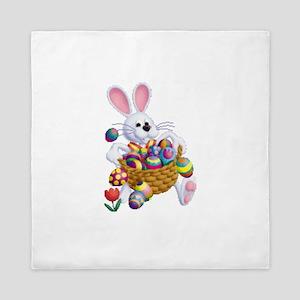Easter Bunny With Basket Of Eggs Queen Duvet