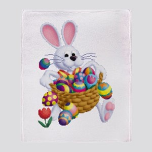 Easter Bunny With Basket Of Eggs Throw Blanket