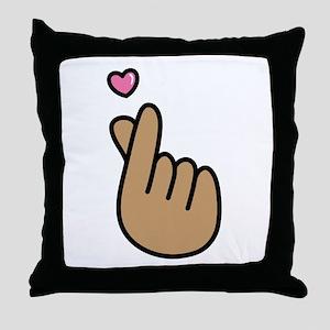 Finger Heart Sign Throw Pillow