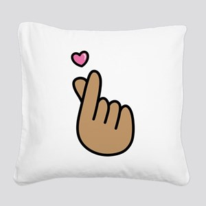 Finger Heart Sign Square Canvas Pillow