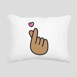 Finger Heart Sign Rectangular Canvas Pillow