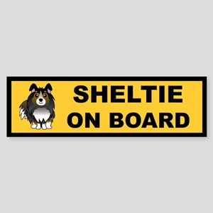 Sheltie on Board (tri color) Bumper Sticker