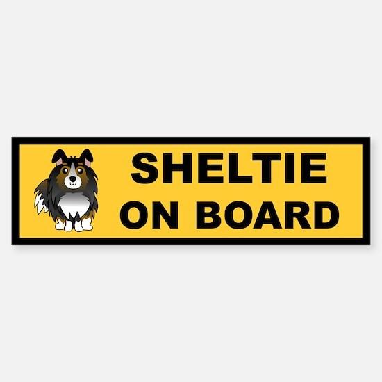 Sheltie on Board (tri color) Bumper Bumper Bumper Sticker