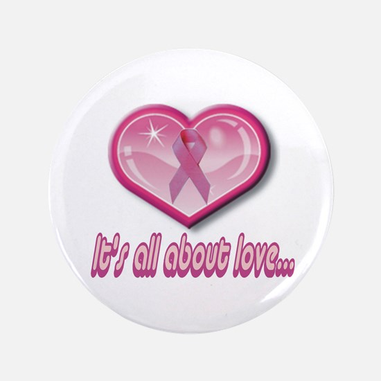 "Heart & Pink Ribbon 3.5"" Button"
