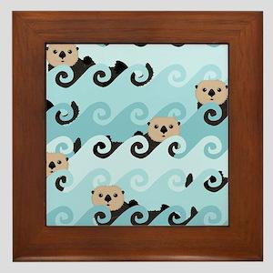 Cute Sea Otters Framed Tile