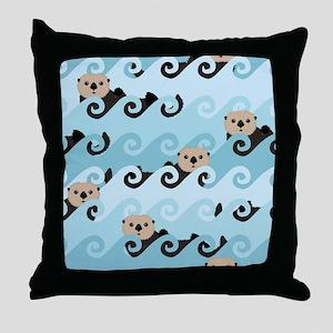 Cute Sea Otters Throw Pillow