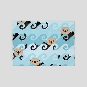 Cute Sea Otters 5'x7'Area Rug